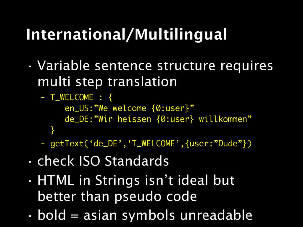 International/Multilingual • Variable sentence ...