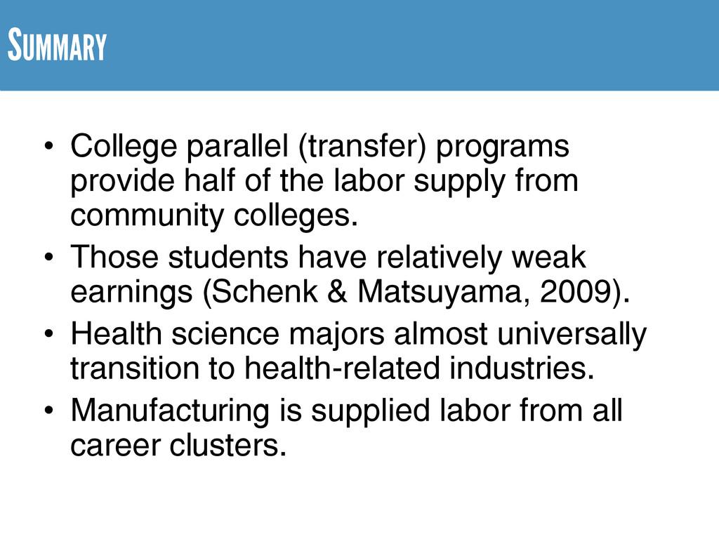 • College parallel (transfer) programs provide ...