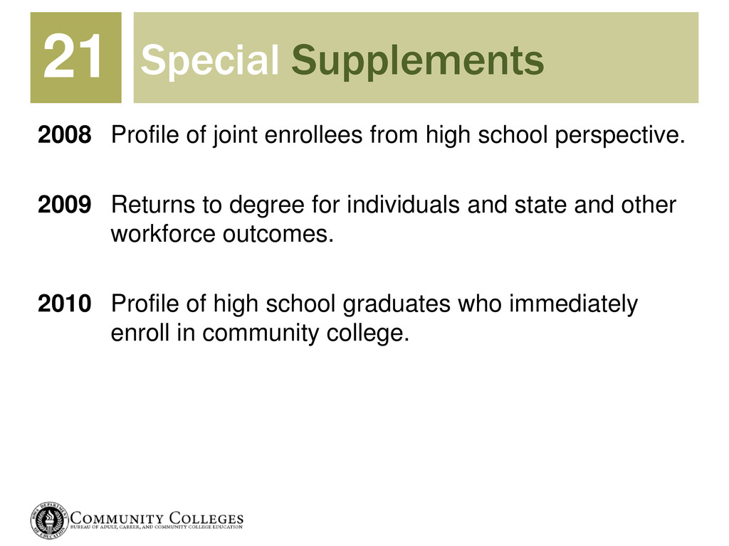 Special Supplements 2008 Profile of joint enrol...