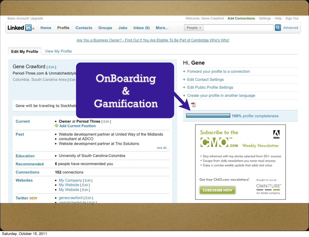 OnBoarding & Gamification Saturday, October 15,...