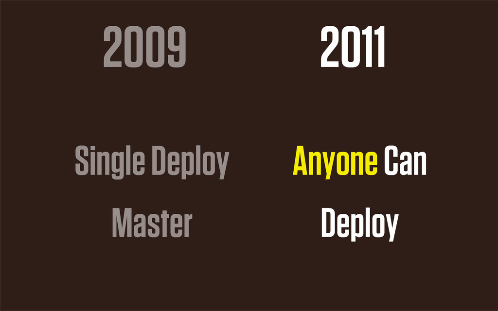 2009 2011 Single Deploy Master Anyone Can Deploy