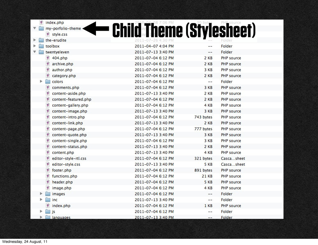 Child Theme (Stylesheet) Wednesday, 24 August, ...