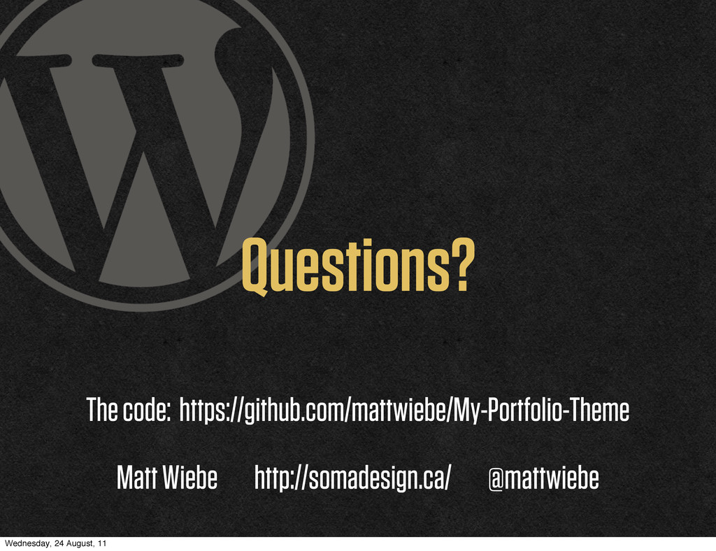 Questions? The code: https://github.com/mattwie...