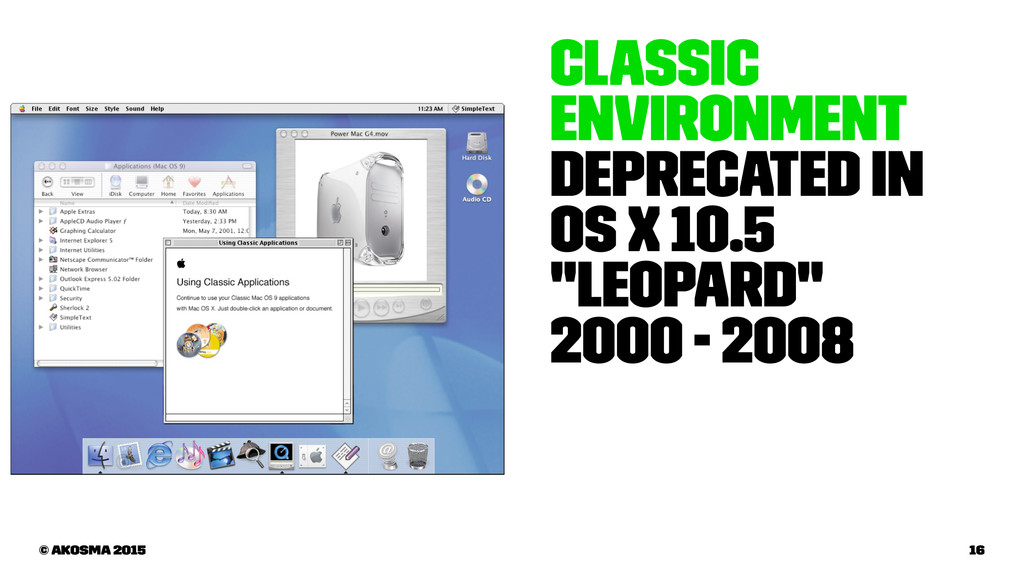 """Classic Environment Deprecated in OS X 10.5 """"Le..."""