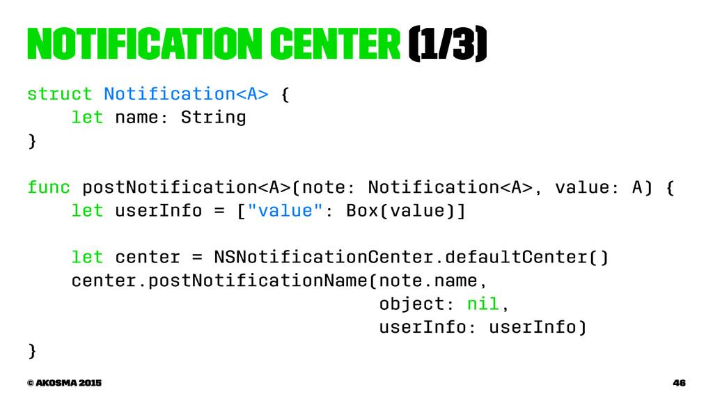 Notification Center (1/3) struct Notification<A> ...