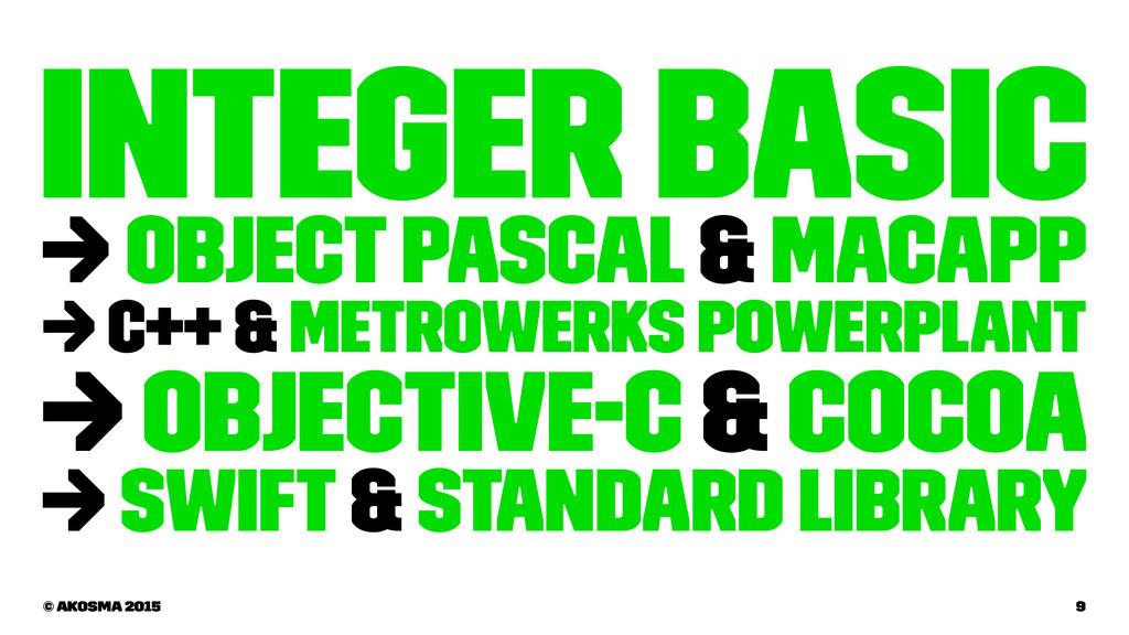 Integer Basic → Object Pascal & MacApp → C++ & ...