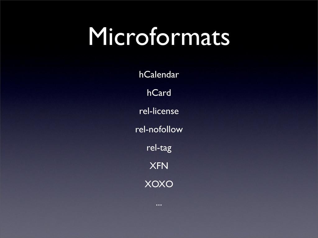 Microformats hCalendar hCard rel-license rel-no...