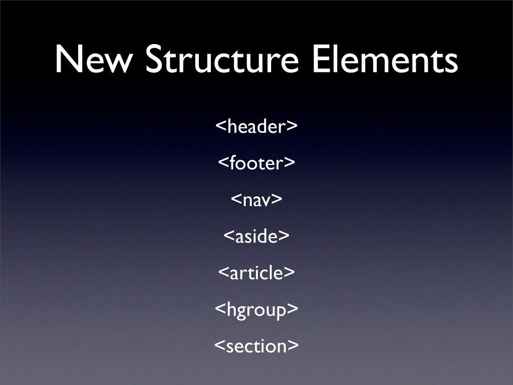 New Structure Elements <header> <footer> <nav> ...