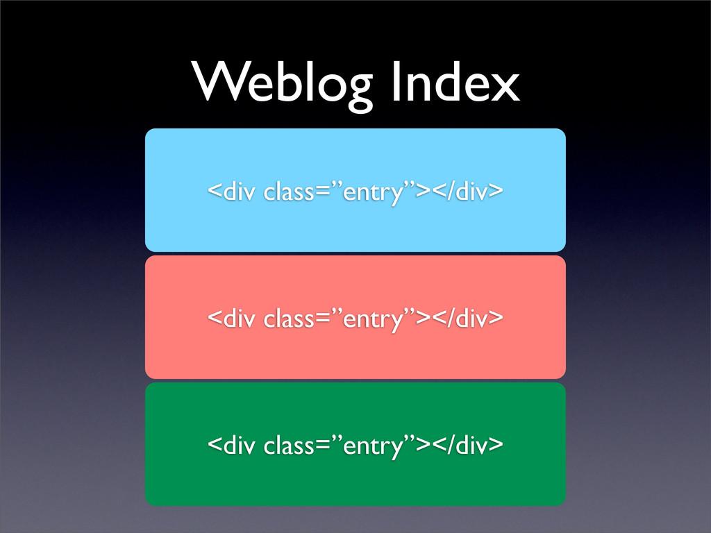 """Weblog Index <div class=""""entry""""></div> <div cla..."""
