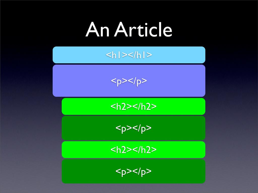 An Article <h1></h1> <p></p> <h2></h2> <p></p> ...