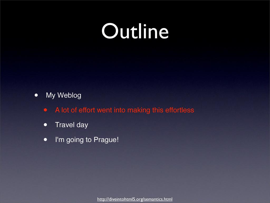 Outline • My Weblog • A lot of effort went into...