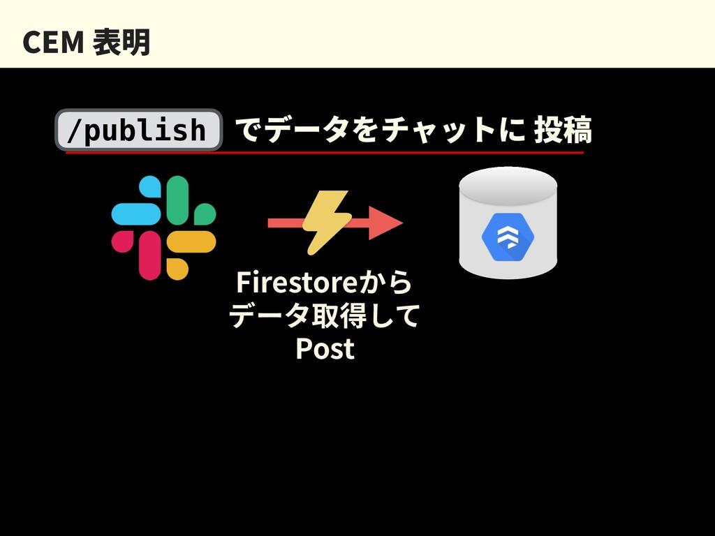 CEM 表明 /publish でデータをチャットに 投稿 Firestoreから データ取得...