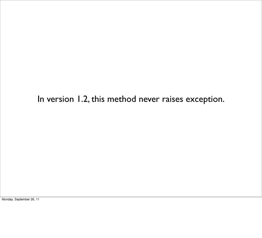 In version 1.2, this method never raises except...