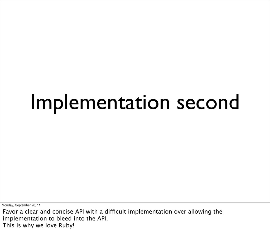Implementation second Monday, September 26, 11 ...
