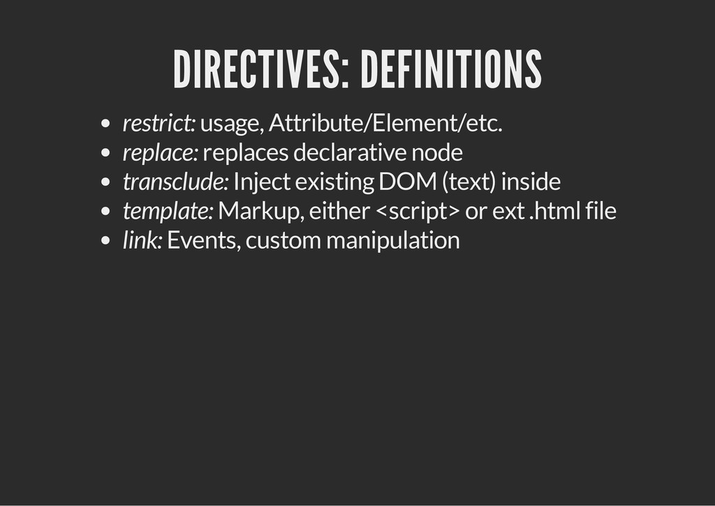 DIRECTIVES: DEFINITIONS restrict: usage, Attrib...