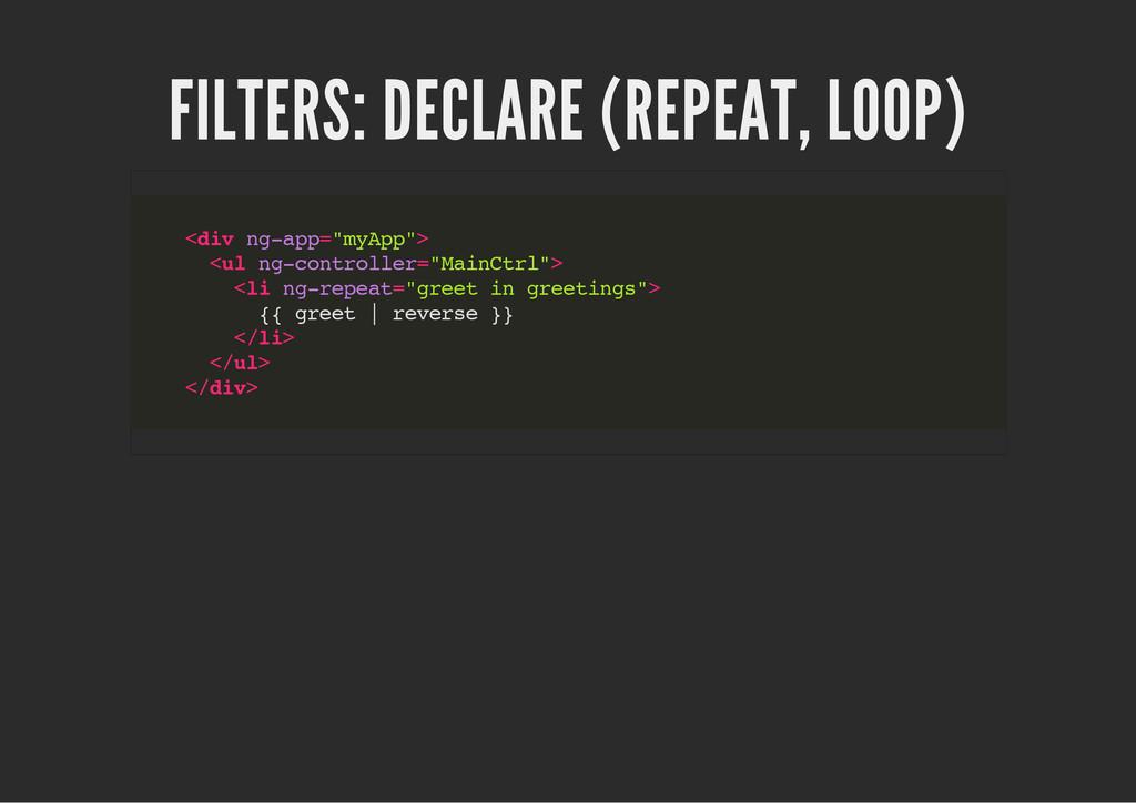 FILTERS: DECLARE (REPEAT, LOOP) < d i v n g - a...