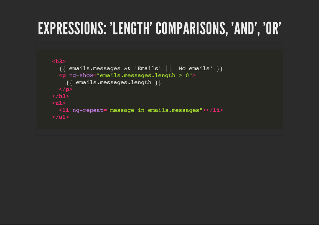 EXPRESSIONS: 'LENGTH' COMPARISONS, 'AND', 'OR' ...