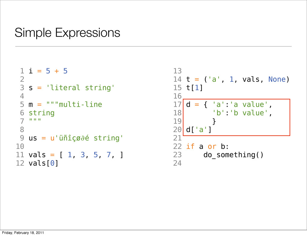 Simple Expressions 1 i = 5 + 5 2 3 s = 'literal...