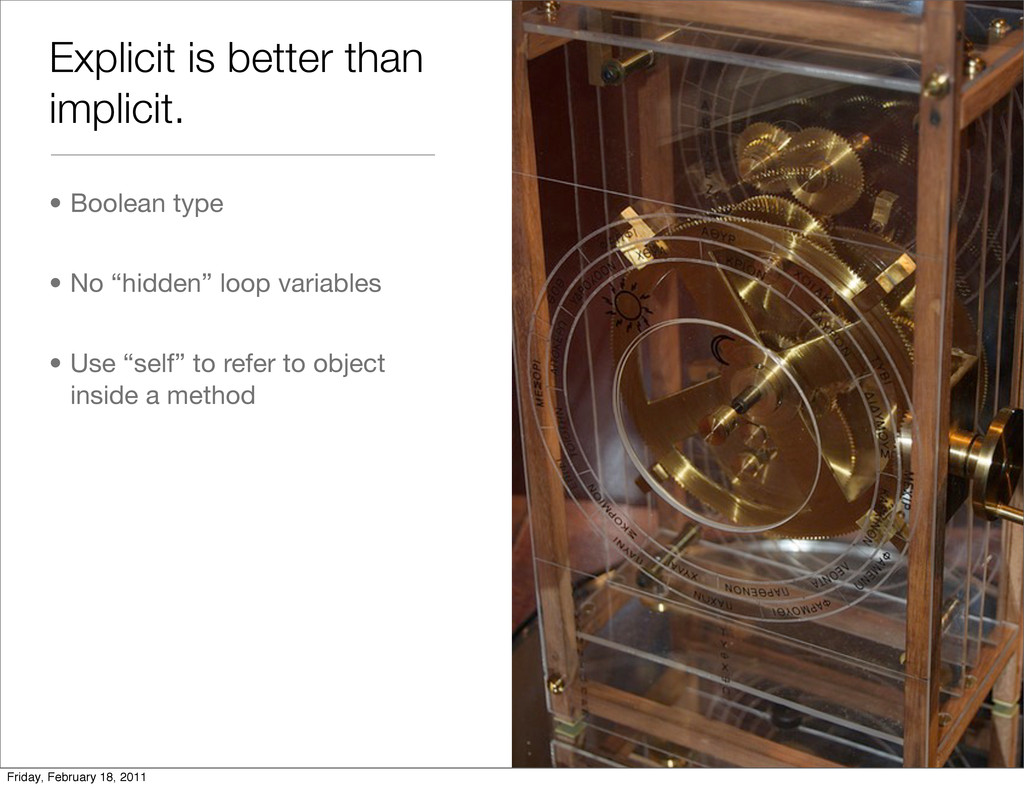 Explicit is better than implicit. • Boolean typ...