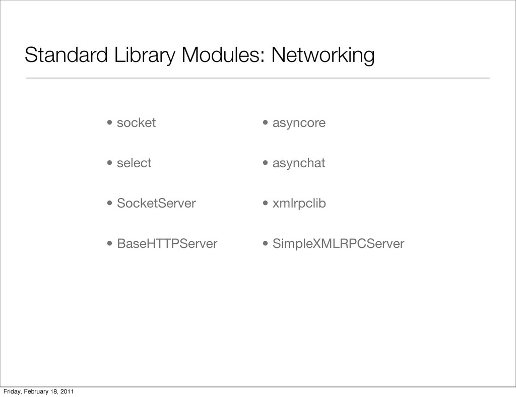 Standard Library Modules: Networking • socket •...
