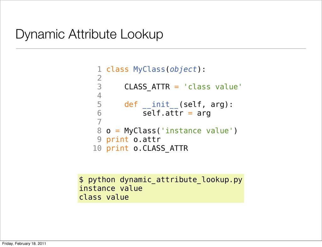 Dynamic Attribute Lookup 1 class MyClass(object...