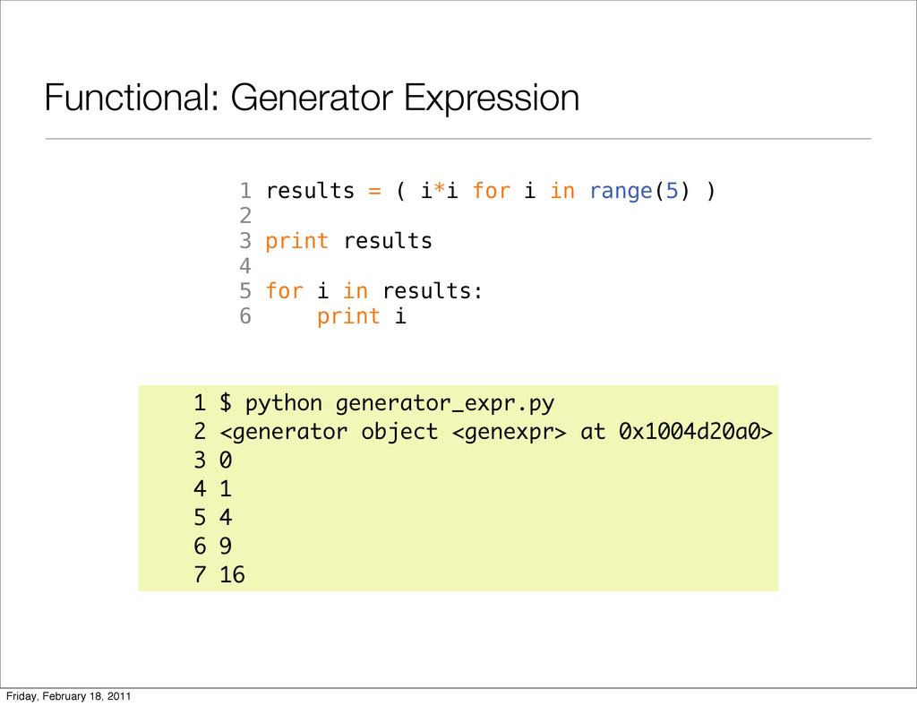 Functional: Generator Expression 1 results = ( ...