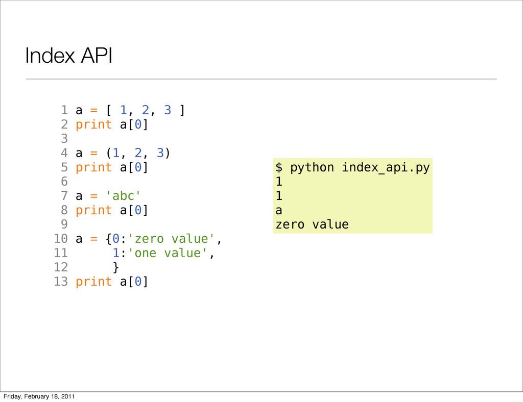 Index API 1 a = [ 1, 2, 3 ] 2 print a[0] 3 4 a ...