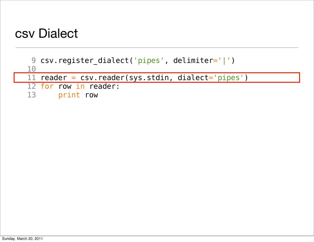 csv Dialect 9 csv.register_dialect('pipes', del...