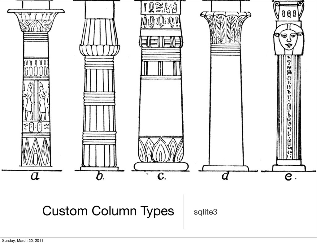 Custom Column Types sqlite3 Sunday, March 20, 2...
