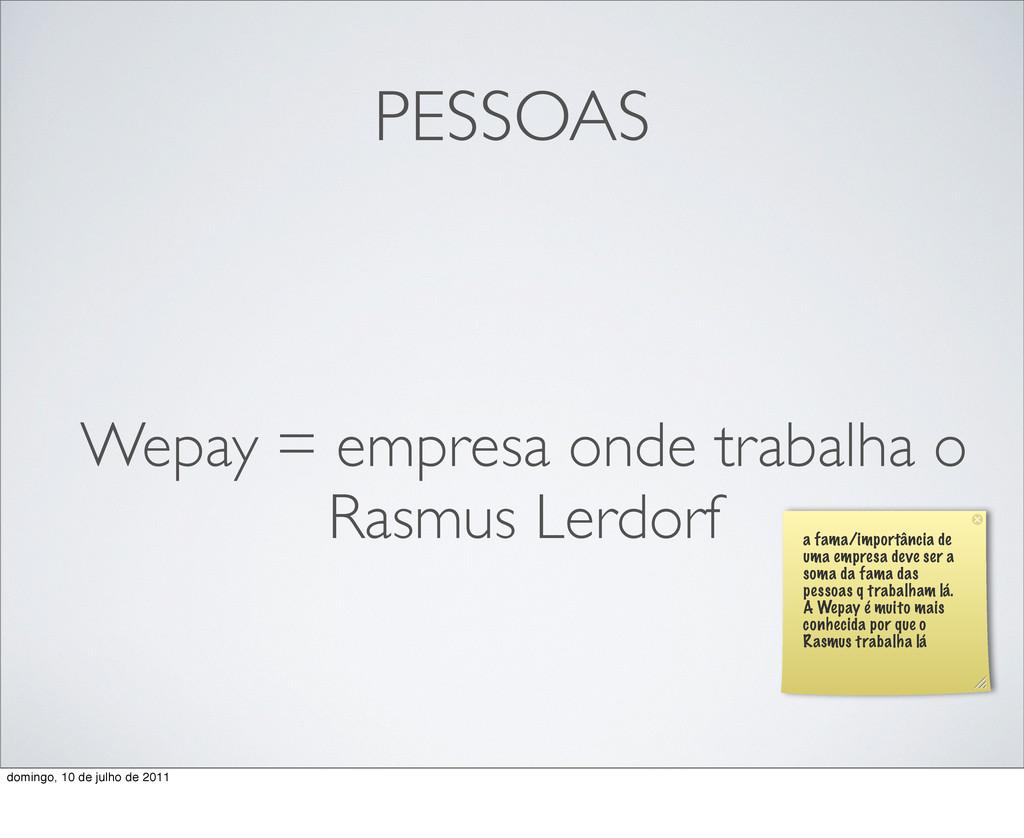 PESSOAS Wepay = empresa onde trabalha o Rasmus ...