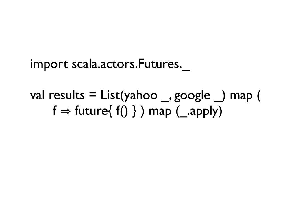 import scala.actors.Futures._ val results = Lis...