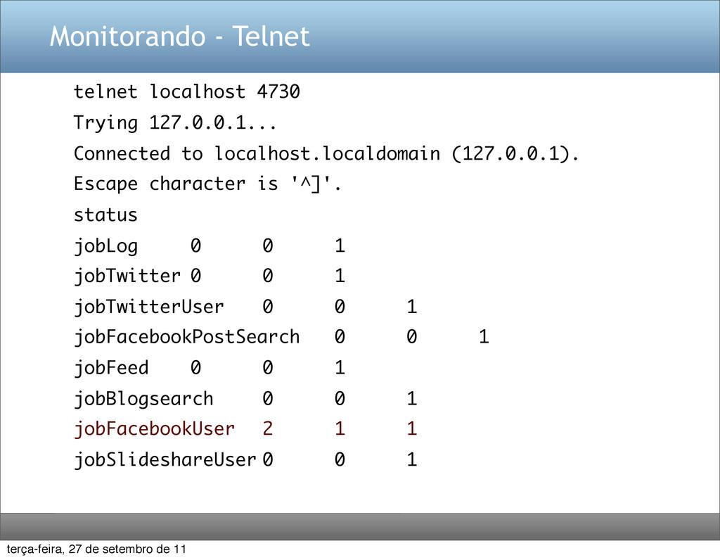 Monitorando - Telnet telnet localhost 4730 Tryi...