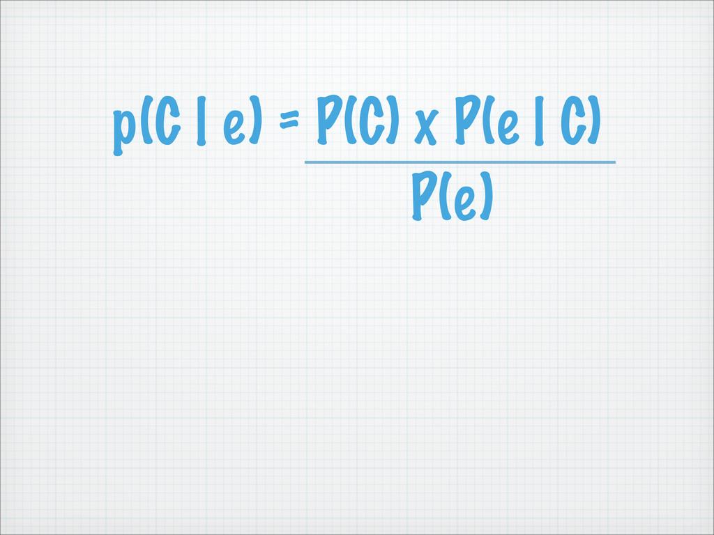 p(C | e) = P(C) x P(e | C) P(e)
