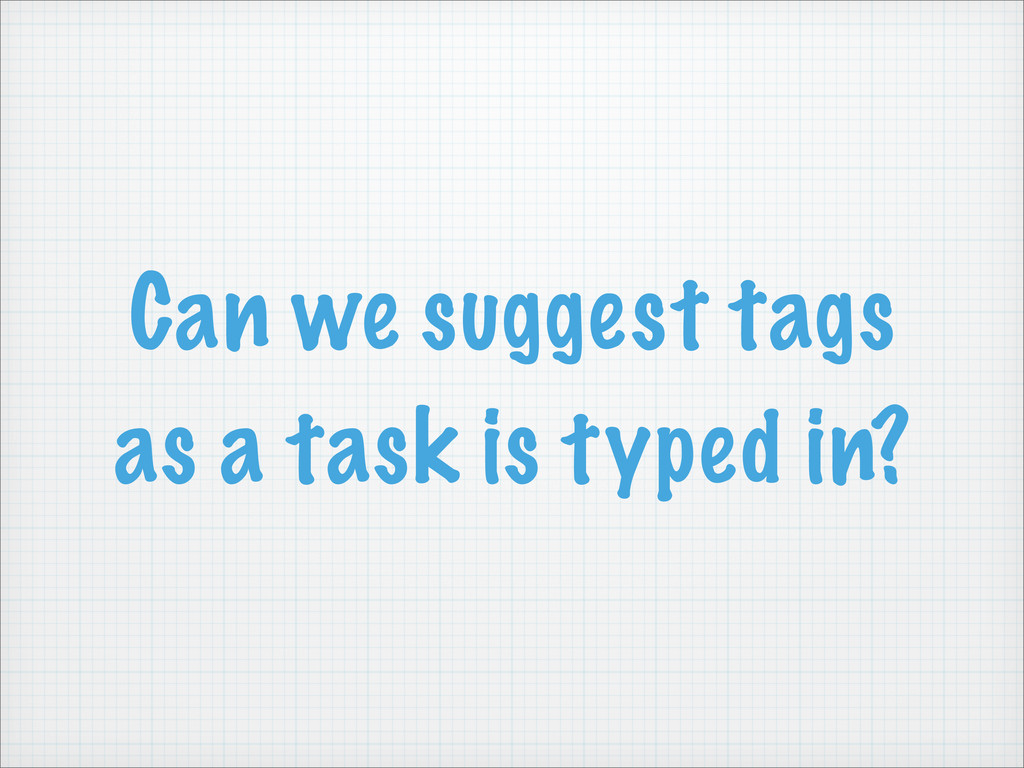 Can we suggest tags as a task is typed in?