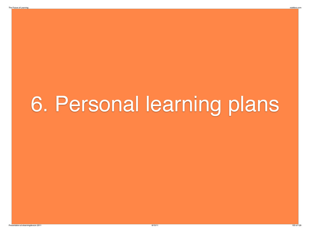 6. Personal learning plans The Future of Learni...
