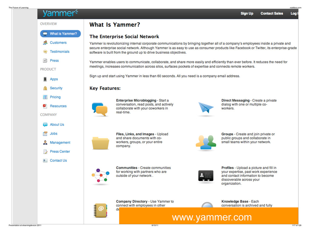 www.yammer.com The Future of Learning nickfloro...