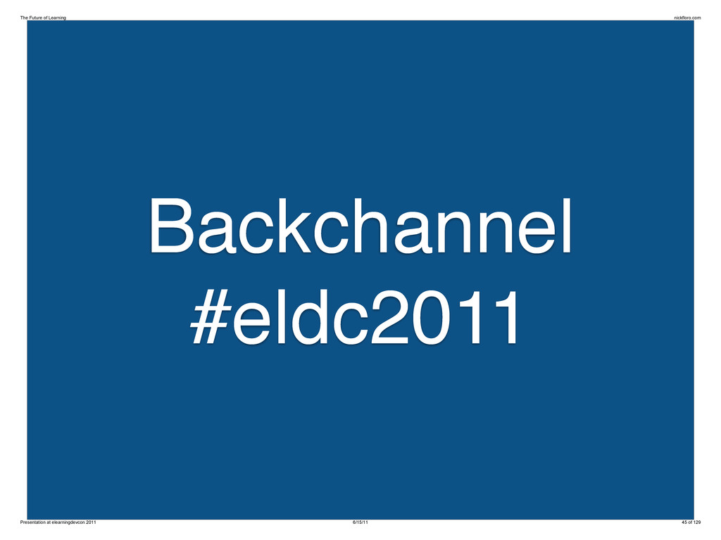 Backchannel #eldc2011 The Future of Learning ni...