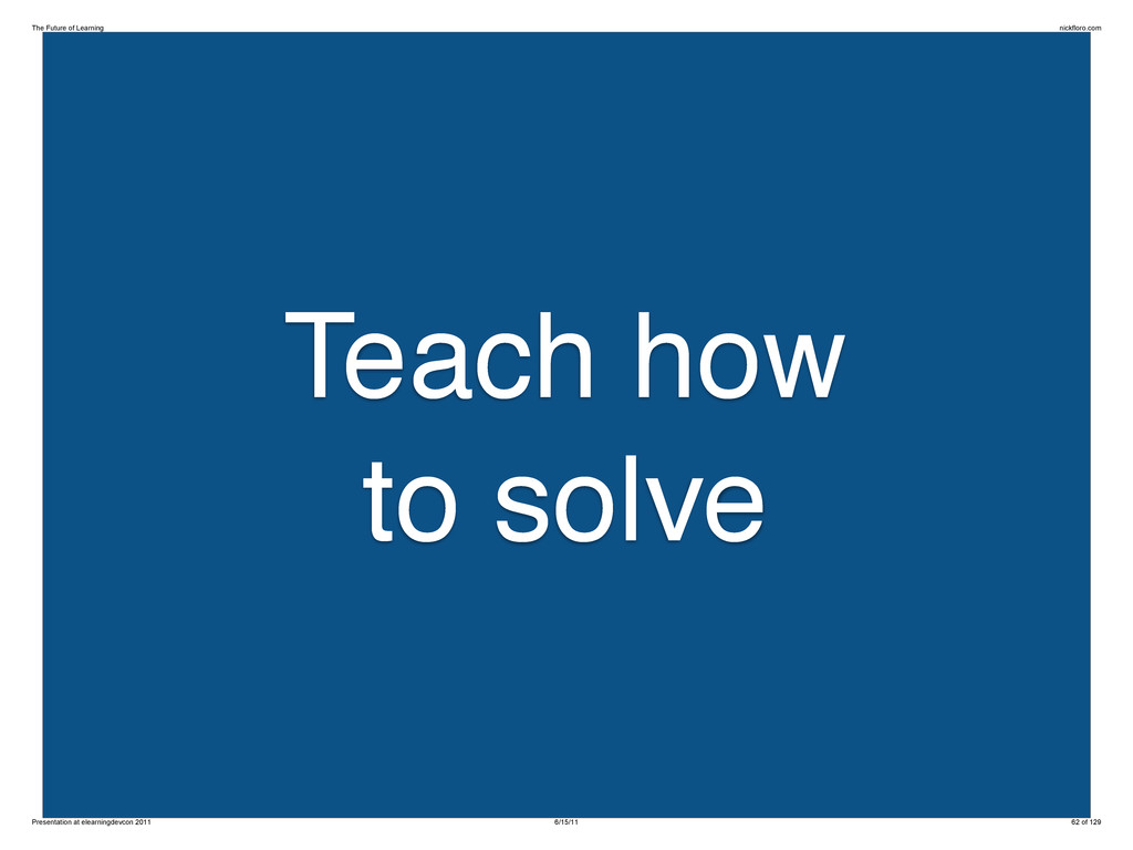 Teach how to solve The Future of Learning nickf...