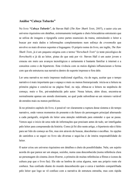 """Análise """"Cabeça Tubarão"""" No livro """"Cabeça Tubar..."""