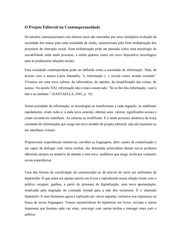 O Projeto Editorial na Contemporaneidade Os est...