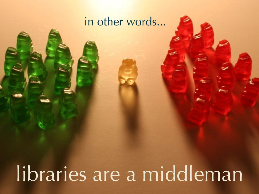 in other words... libraries are a middleman