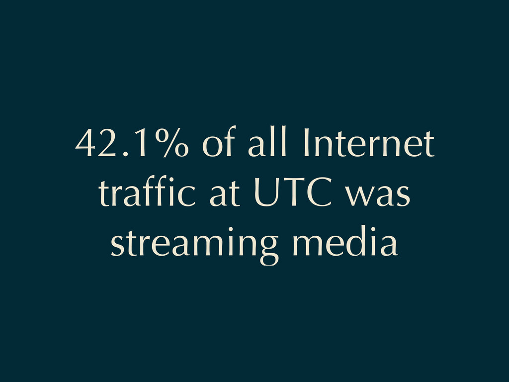 42.1% of all Internet traffic at UTC was streami...