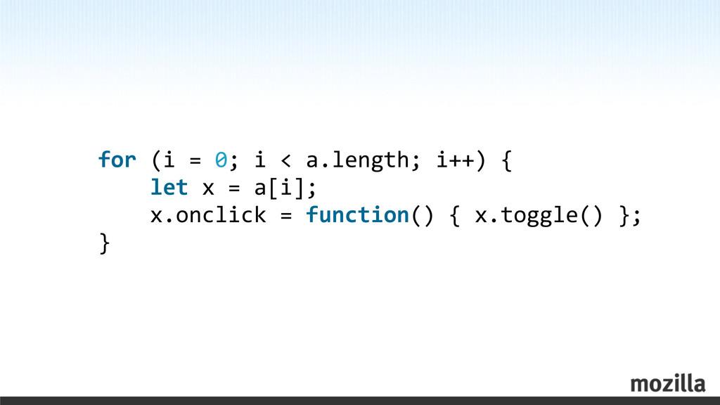 for (i = 0; i < a.length; ...