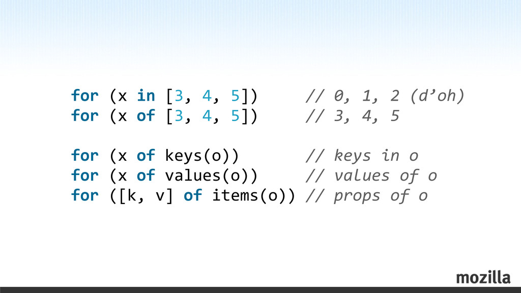 for (x in [3, 4, 5])   ...