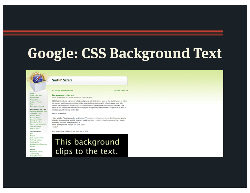 Google: CSS Background Text
