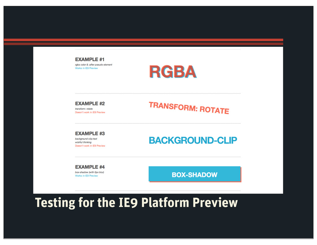 Testing for the IE9 Platform Preview