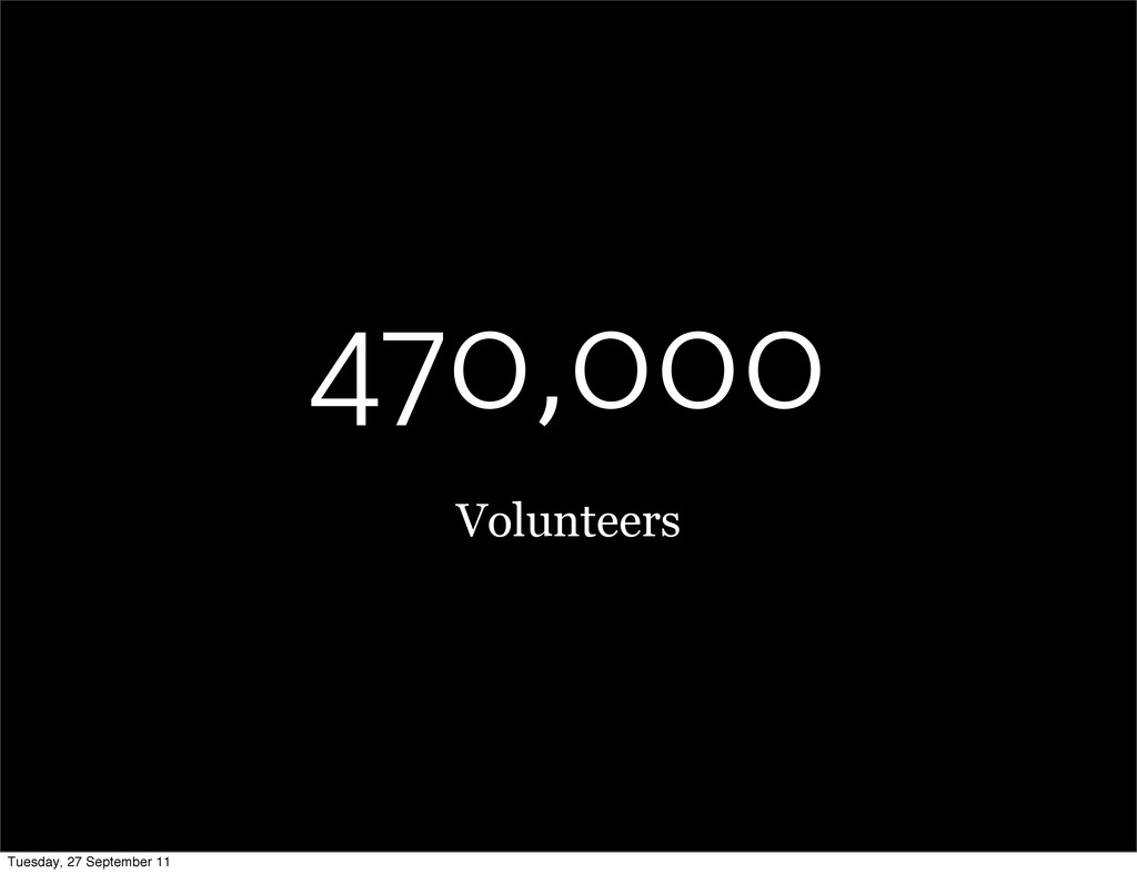 470,000 Volunteers Tuesday, 27 September 11