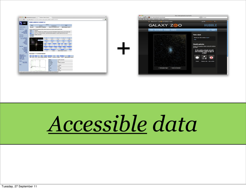 + Accessible data Tuesday, 27 September 11
