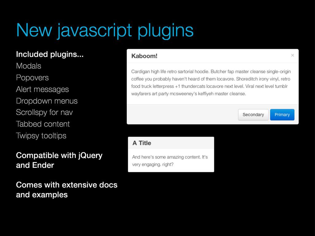 Included plugins... Modals Popovers Alert messa...