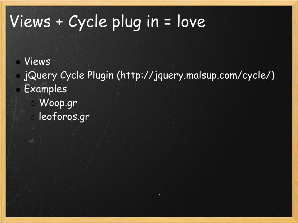 Views + Cycle plug in = love Views jQuery Cycle...